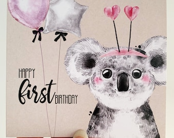 First Birthday Card {KATIE THE KOALA}