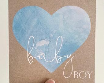 Baby Boy Card {WATERCOLOUR BLUES}