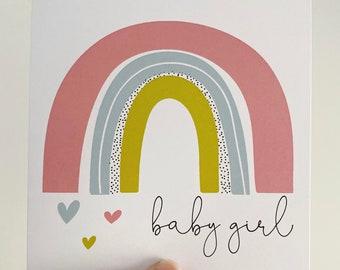 Baby Girl Card {PINK RAINBOW}