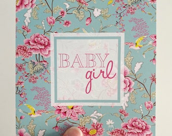 Baby Girl Card {TEAL BLUE FLORAL}