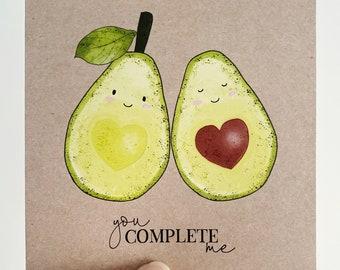 You Complete Me Card {AVOCADO}