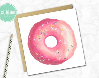 Pink Iced Donut Mini Card