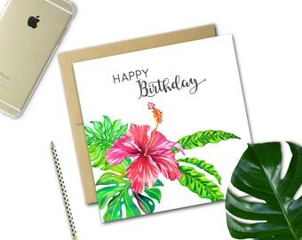 Mini Birthday Card {HIBISCUS}