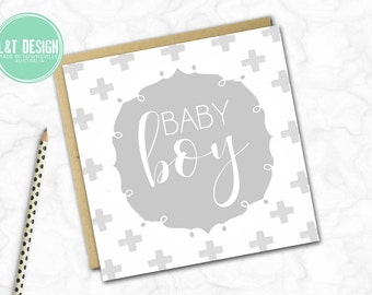 Grey Monochrome Baby Boy Mini Card