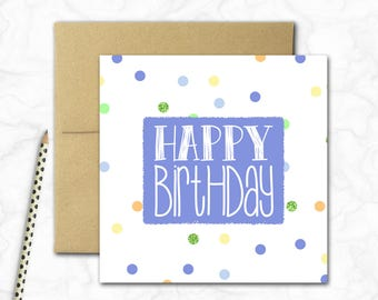Birthday Card {BLUE SPOTS}
