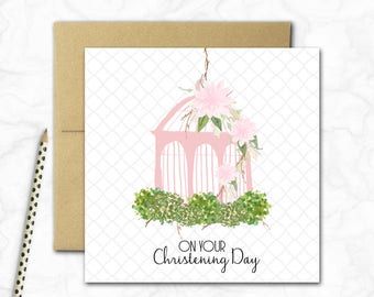 Christening Mini Card {PINK BIRDCAGE}