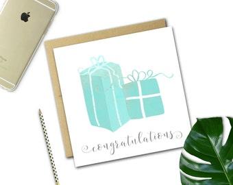 Pretty Teal Gifts Wedding Card