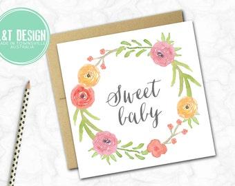 Sweet Baby Mini Card {Coral Wreath}