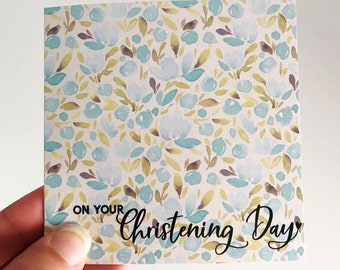 Christening Mini Card {BLUE FLORALS}