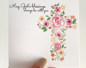 Pink Floral Christening Mini Card