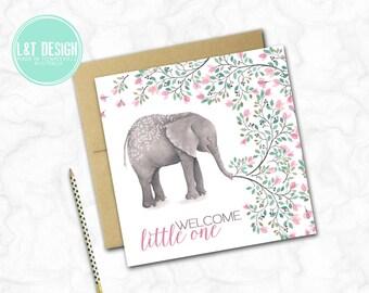 Sweet Elephant New Baby Mini Card
