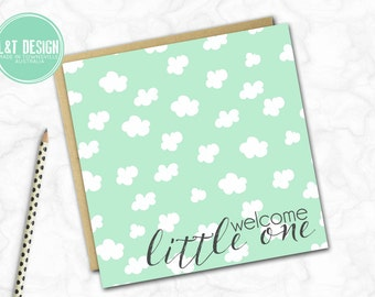 Mint Cloud New Baby Mini Card