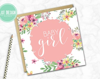 Floral Sweet Baby Girl Mini Card