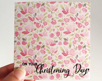 Christening Mini Card {PINK FLORALS}