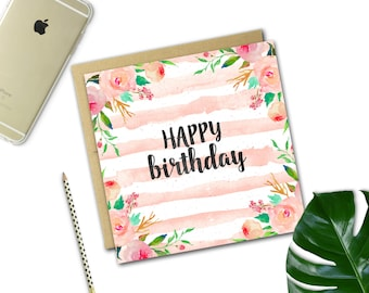Floral Stripe Birthday Card