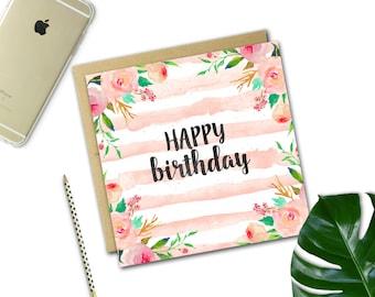 Floral Stripe Birthday Card