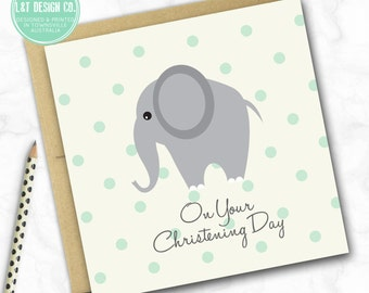 Christening Mini Card {ELEPHANT}
