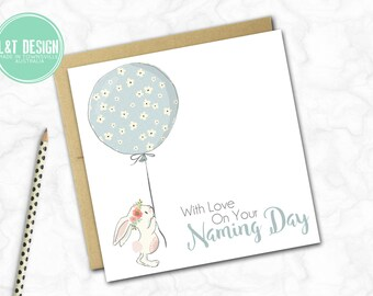 Naming Day Card {Blue Balloon Bunny}