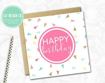 Birthday Card {PINK CONFETTI}