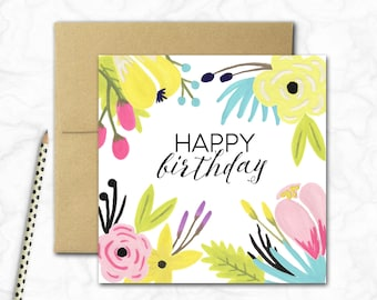 Birthday Card {PASTEL FLOWERS}