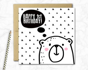 First Birthday Card {SCANDI BEAR}