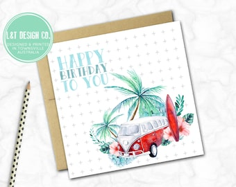 Birthday Card {Red Kombi}