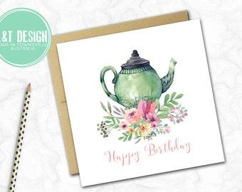 Birthday Mini Card {FLORAL TEAPOT}