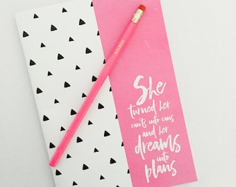 Notebook and Pencil - DREAMS INTO PLANS