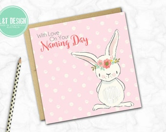 Naming Day Card {Pink Bunny}