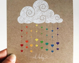 Oh Baby Card {RAINBOW DROPS}