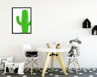 Sleepy Cactus Print