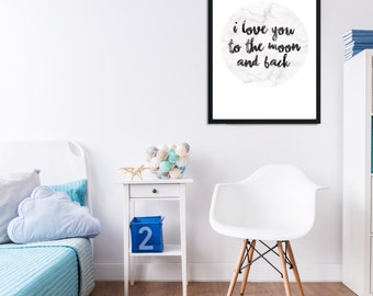 I Love You to the Moon and Back Marble Effect Wall Print