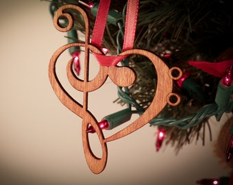 Music Heart Laser cut Ornament made from Music Symbols