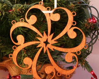Bass Clef Musical Snowflake Laser Cut Ornament
