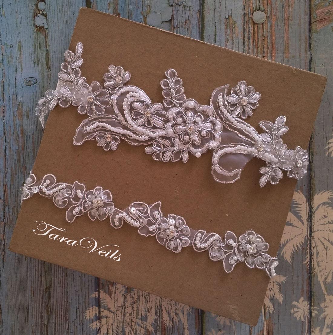 Tradition Of Wedding Garter: Wedding Garter Set White Silver GarterRhinestone White