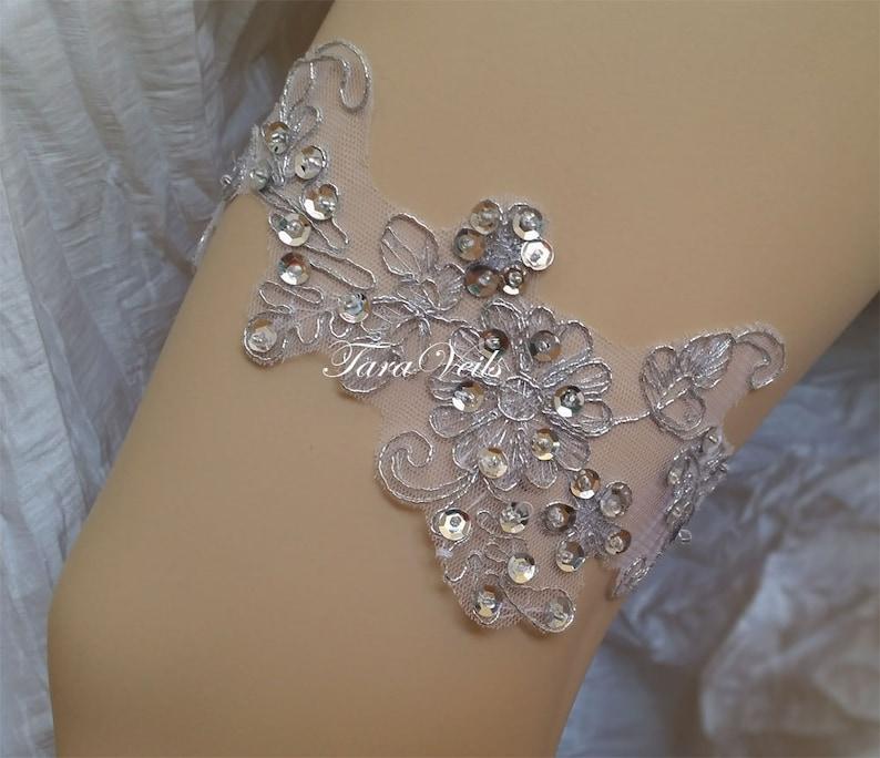 Wedding  Bridal  Floral lace Silver Garter wedding garters  bridal garter Floral lace garter  Vintage GarterSingle Garter