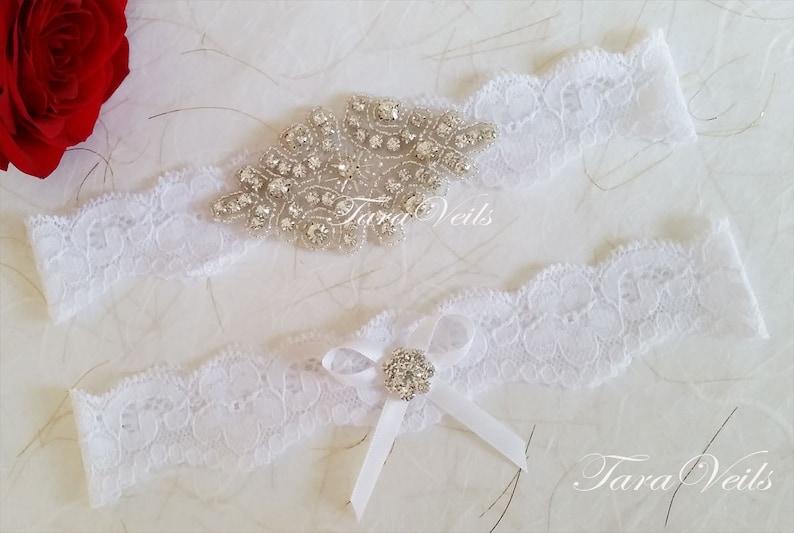 Wedding garter set  Bridal garter set  Rhinestone Garter wedding white garters  bridal white garter lace garter  Vintage Garter