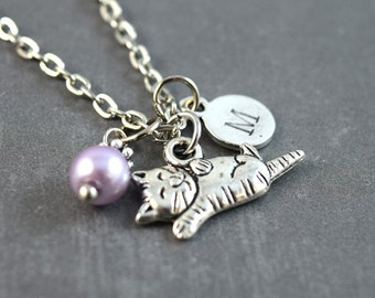 Cat Charm Necklace Personalized - Silver Cat Pendant - Birthstone Jewelry - Birthstone Necklace - Pet Cat Loss Necklace