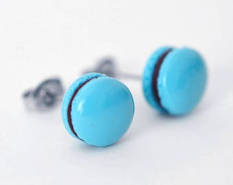 Blueberry Chocolate French Macaron Stud Earrings - Faux Food Earrings - Polymer Clay Miniature Food Jewelry