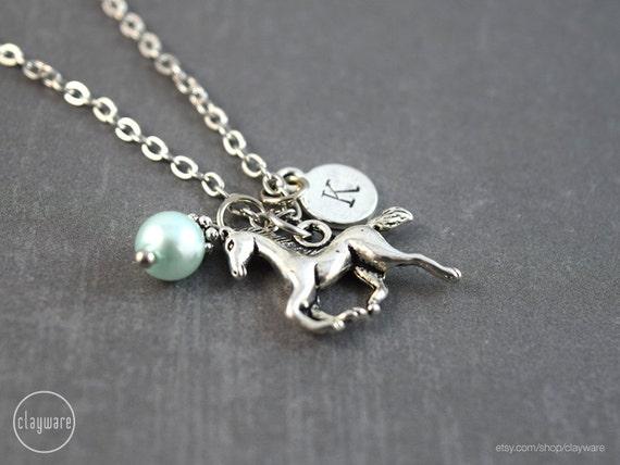 Personalized silver horse necklace horse pendant horse etsy image 0 aloadofball Images