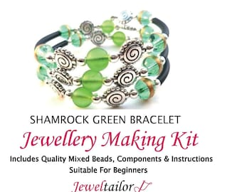 c3cdb4a0dd Shamrock Green Bracelet Jewellery Making Kit~ With Memory Wire For Up To 10  Bracelets, Mixed Beads, End Caps + FREE Luxury Gift Bag