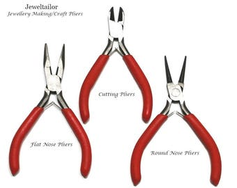 Trio Of Full Size Jewellery Making Pliers ~ Round Nose, Cutting & Chain/Flat Nose Styles ~ Jewellery Making Essentials