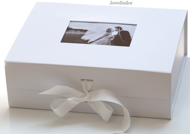 1 Luxurious Extra Large White Photo Lid Gift Box 33cm With Changeable Grosgrain Ribbon Tie An Ideal Personal Keepsake Or Gift Box