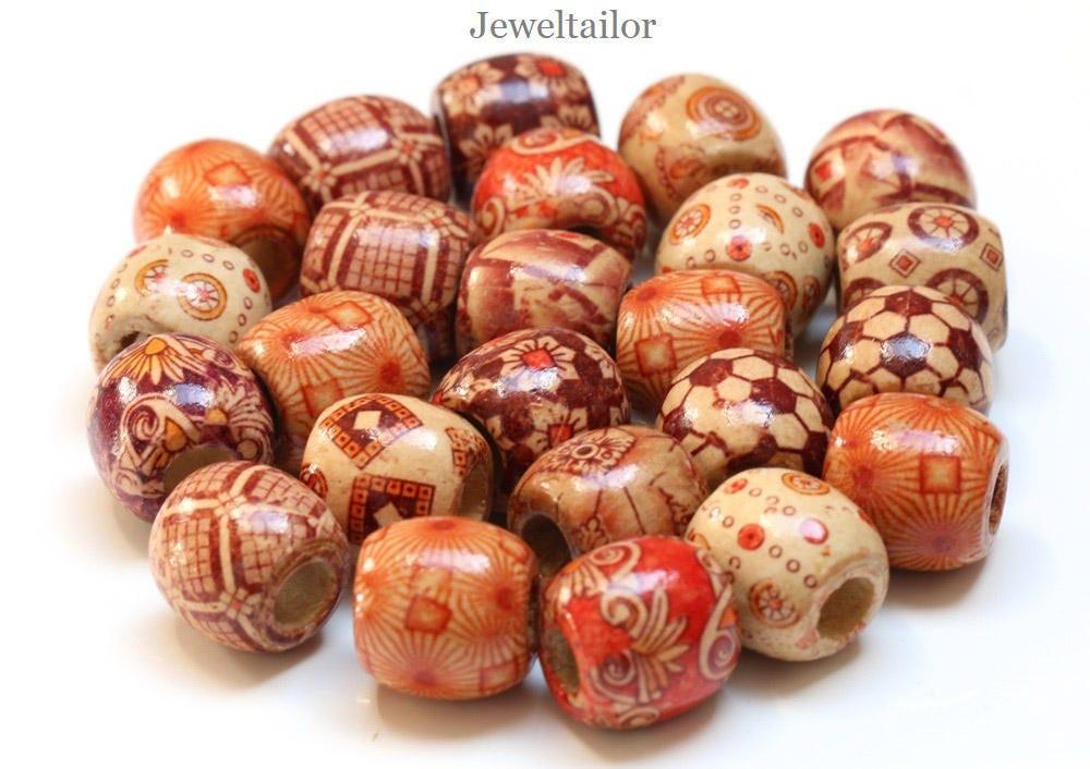 20-100 Mixed Large Hole Wooden Ethnic Barrel Beads 16mm ...