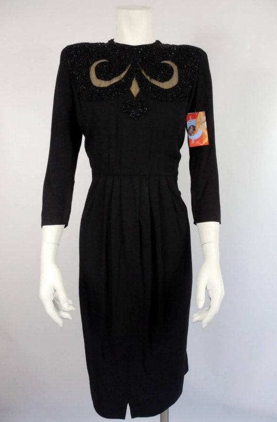 1940s Black Rayon Dress