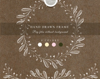 Hand drawn frame. hand drawn clipart, pencil drawn clipart, png files - 300 dpi. without background
