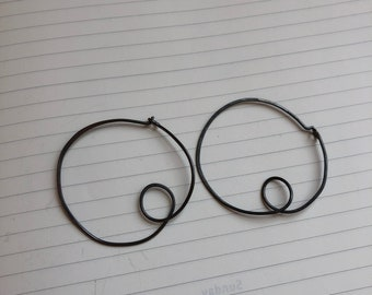 Large Scribble Hoops in Oxidized Recycled Sterling Silver
