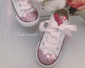 Minnie mouse Converse / bling converse/ girl converse / bling toe converse / pink converse/ Disney Converse