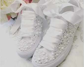 e57c30e30443 Luxury all white Converse pearl sparklers   White All over converse    Bridal converse   Wedding converse   Pearl converse