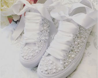 505cd04a977340 Luxury all white Converse pearl sparklers   White All over converse   Bridal  converse   Wedding converse   Pearl converse
